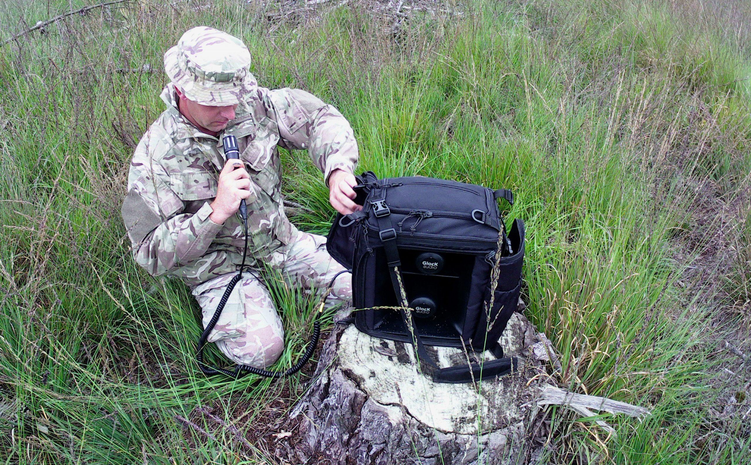 LSA-X-MK2 loudspeaker / megaphone used by army soldier