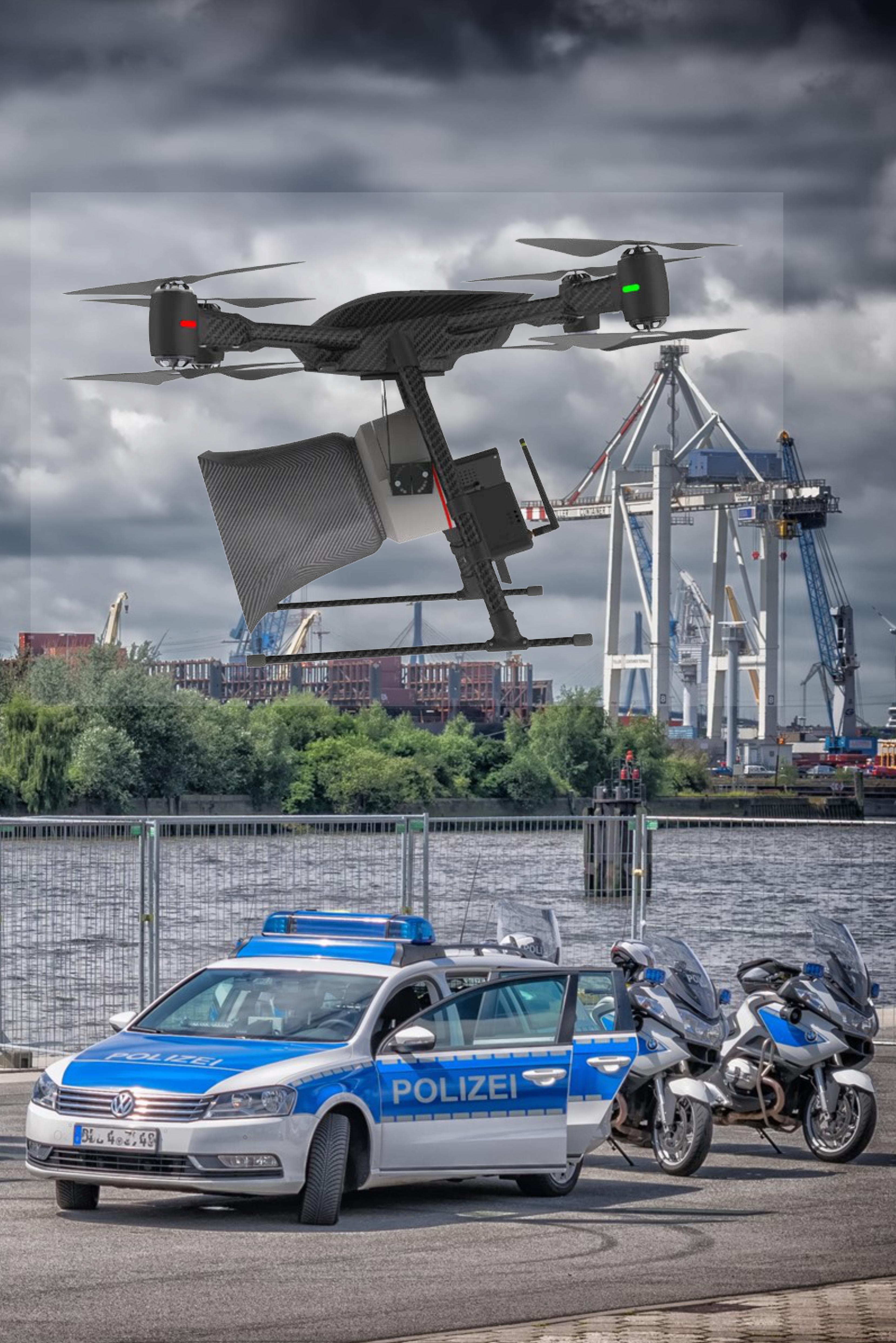 Einsatzszenario Drohnenlautsprecher CDL-136 Polizei Hafen